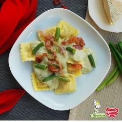 Agnolotti piemontesi à la crème de haricots verts et fromage taleggio